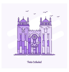 Porto cathedral landmark purple dotted line vector