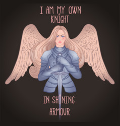 Portrait beautiful girl with archangel wings vector