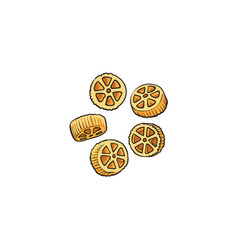 Raw uncooked wagon wheel shaped italian pasta vector