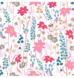 seamless pattern wind blow flowers isolated on vector image