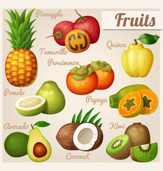 Set of cartoon food icons exotic fruits vector