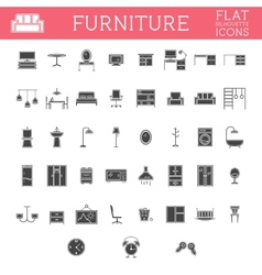 set silhouette furniture outline icons trendy vector image