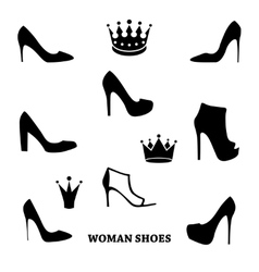 set woman shoes silhouettes with crowns vector image