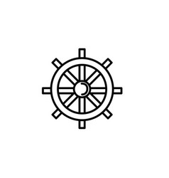 ship steering wheel summer icon line vector image