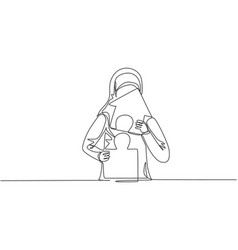 Single one line drawing young arabian vector