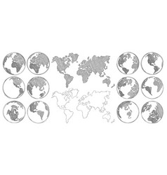 Sketch map hand drawn earth globe drawing world vector