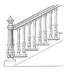 Stair rail stair handrails vintage engraving vector