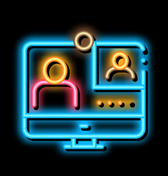 Student personal computer neon glow icon vector