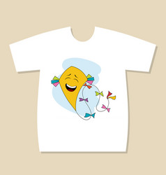 T-shirt print design with funny flying kite vector