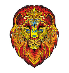 Tangle african lion colorful isolated vector
