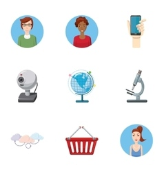 Technical support icons set cartoon style vector