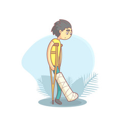 Teenage boy walking on crutches with broken leg vector