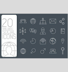 thin line social set icons concept vector image