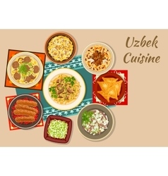 Uzbek cuisine dinner with asian dishes icon vector