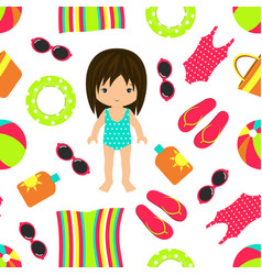 vacation seamless beach pattern vector image