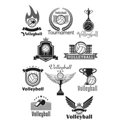 Volleyball tournament sport club icons set vector