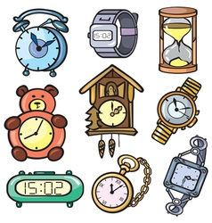 Watches and clock icons set vector