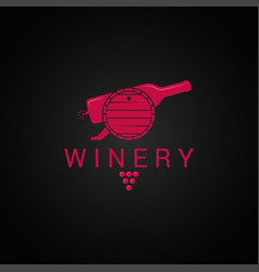 Wine bottle and barrel logo winery design with vector