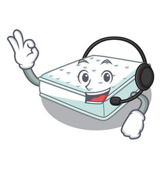 With headphone mattress in cartoon on the shape vector
