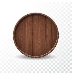 With isolated wood barrel on transparent vector