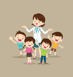 Woman doctor with kids happy vector