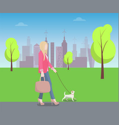 Woman walking with pat in park colorful poster vector