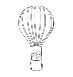 young lovers couple flying in balloon air hot vector image