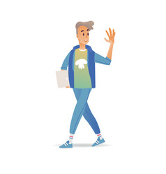 young man waving hand while walking - cheerful vector image