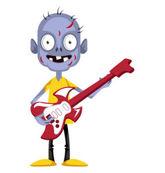 Zombie with guitar on white background vector