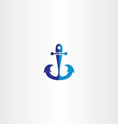 anchor icon blue symbol vector image vector image
