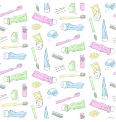 Dental accessories pattern vector