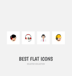flat icon call set of headphone call center vector image vector image