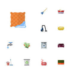 flat icons faucet wisp washcloth and other vector image vector image