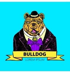 Hand Drawn Fashion of French Bulldog vector image