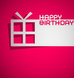 Happy Birthday Card with Paper Cut Gift Box on vector image vector image