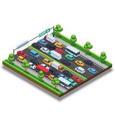 isometric highway with traffic jam 3d vector image