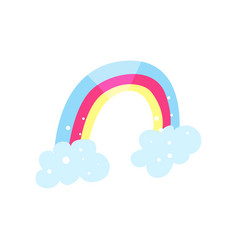 rainbow and clouds cartoon vector image