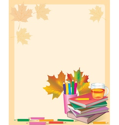 Autumn frame with school books vector image vector image
