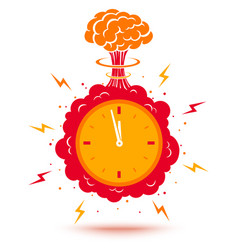 clock with atomic bomb vector image vector image