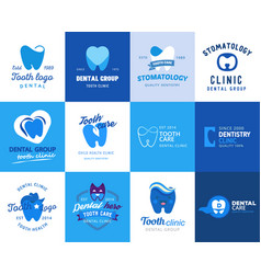 dental tooth logo dentist clinic logotype vector image