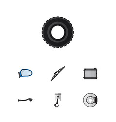 flat auto set of wheel auto component conrod and vector image vector image