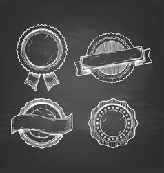 retro labels on chalkboard vector image vector image