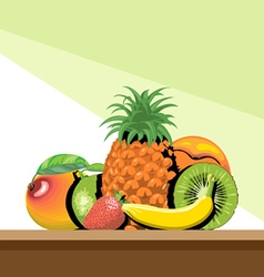 Set of fruits with shadow vector image