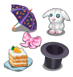 set with bunny carrot cake hat and other items vector image