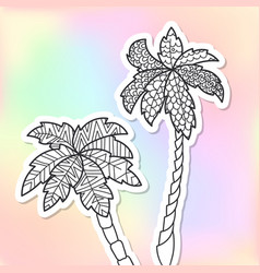 adult coloring doodle palm trees vector image vector image