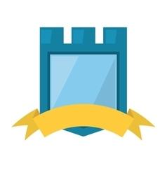 blue shield yellow ribbon badge vector image