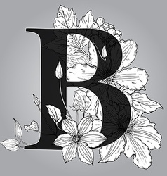 Capital Letter B floral monogram with hand drawn vector image vector image
