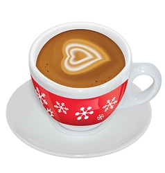 Cup of coffee with milk on a saucer vector