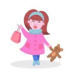 Cute girl with bear toy and bag flat icon vector