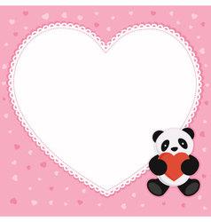 Panda bear with heart shape frame vector image vector image
